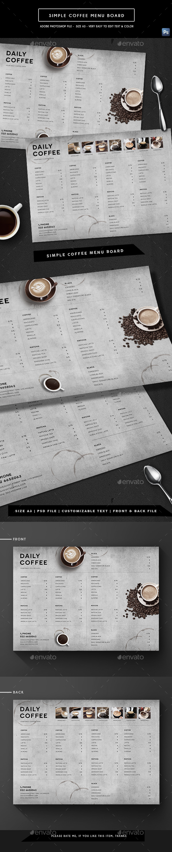 Simple Coffee Menu Board - Food Menus Print Templates
