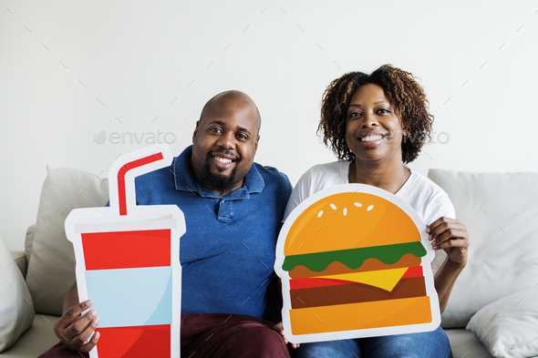 Black couple with food icon - Stock Photo - Images