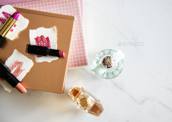 Flat lay of woman cosmetic isolated - Stock Photo - Images