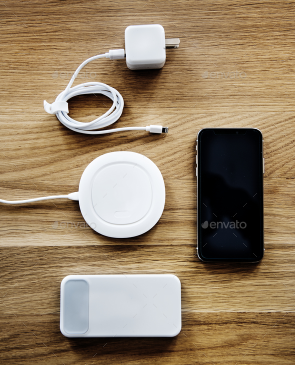 Flatlay of smartphone accessories - Stock Photo - Images