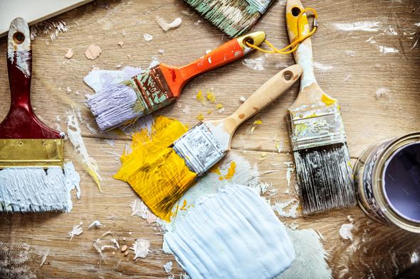 Flat lay of brushes isolated on white background - Stock Photo - Images