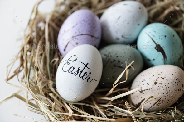 Closeup of easter eggs - Stock Photo - Images