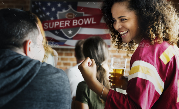 Frieds cheering sport at bar together - Stock Photo - Images