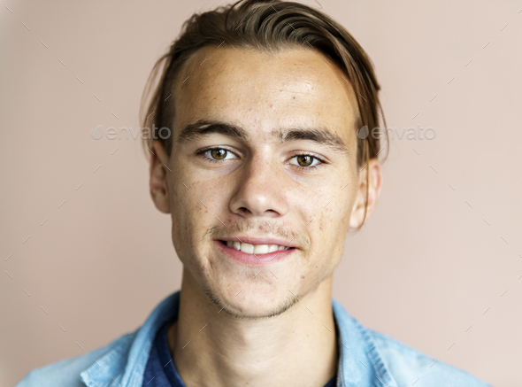 Portrait of cheerful Caucasian man - Stock Photo - Images