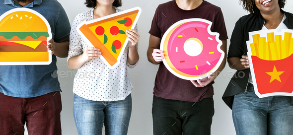 Diverse friends with food icons - Stock Photo - Images