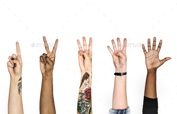 Diversity hands with numberic sign - Stock Photo - Images