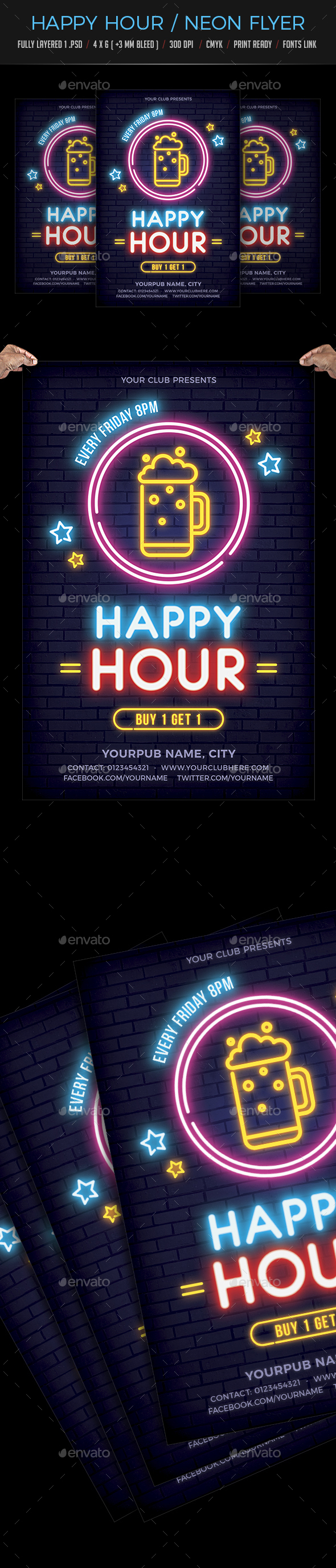 Happy Hour / Neon Flyer - Flyers Print Templates