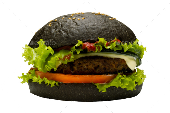 Black burger on white background - Stock Photo - Images