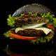 Black burger on a black background - PhotoDune Item for Sale
