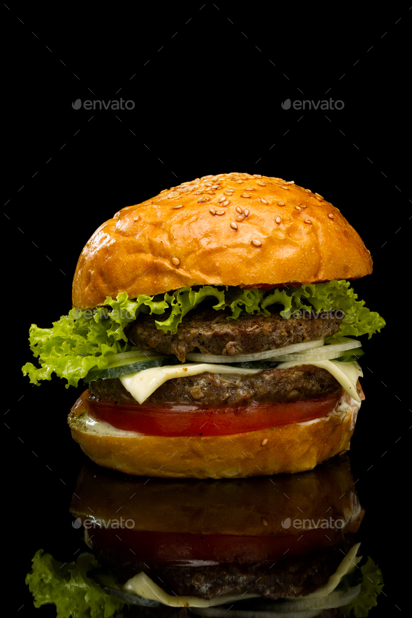 Burger on a black background - Stock Photo - Images