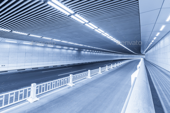 blue city tunnel - Stock Photo - Images