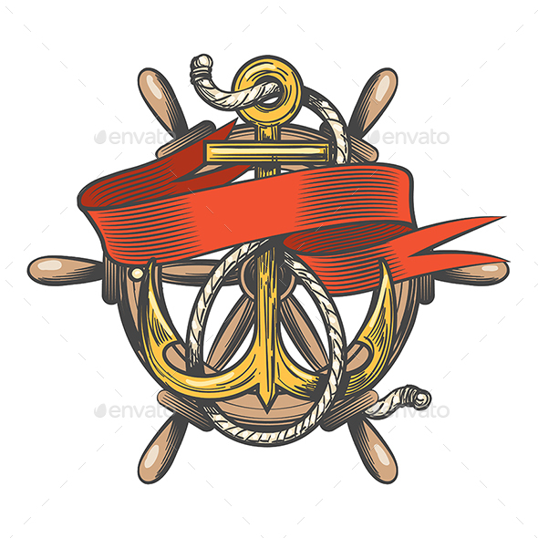 Anchor With Ribbon and Steering Wheel Emblem - Tattoos Vectors