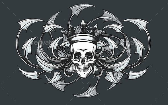 Skull with Crown Engraving Emblem - Tattoos Vectors
