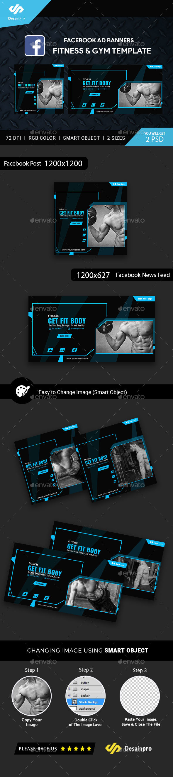 Fitness and Gym Facebook Ad Banners - AR - Social Media Web Elements