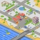 Gas Station in City Map Isometric 3D Vector