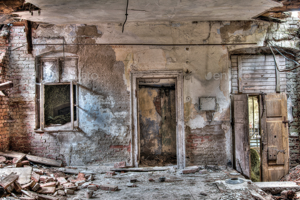 Window and door - abandoned and crumbling building - Stock Photo - Images