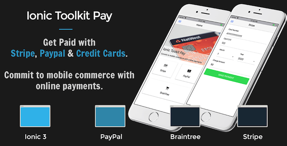 Ionic 3 Toolkit Pay Personal Edition - Get Paid with Stripe, Paypal & Credit Cards