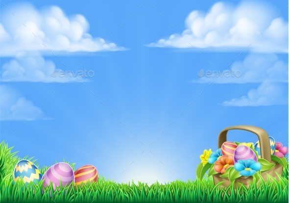Easter Eggs Basket Background - Miscellaneous Seasons/Holidays