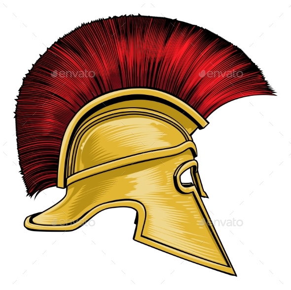 Spartan Ancient Greek Gladiator Warrior Helmet - Miscellaneous Vectors