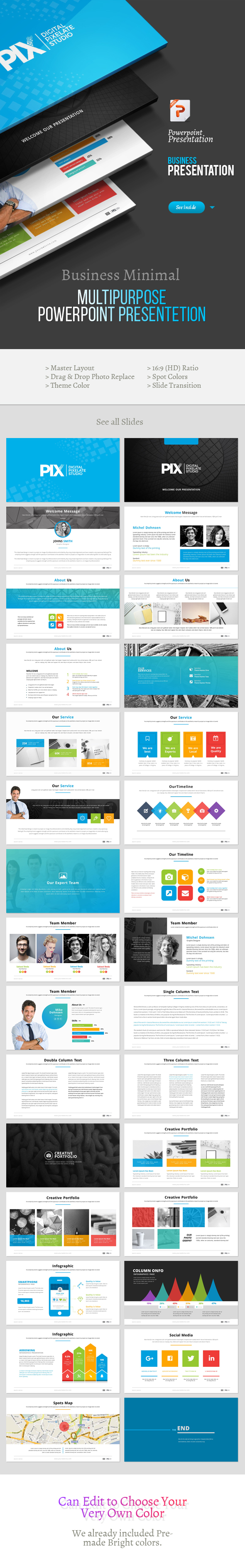 WhitePix Business Multipurpose Powerpoint Template - Business PowerPoint Templates