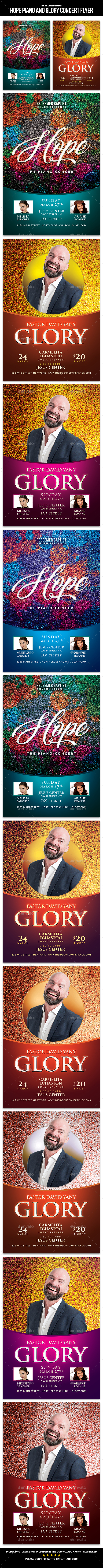 Hope Piano and Glory Concert Flyer - Church Flyers