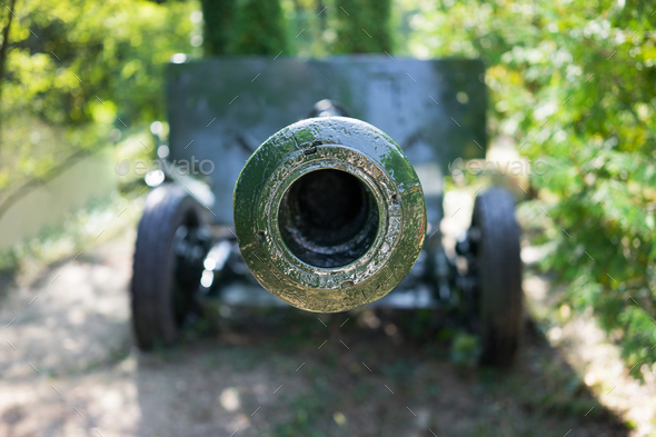 Front of the green cannon - Stock Photo - Images