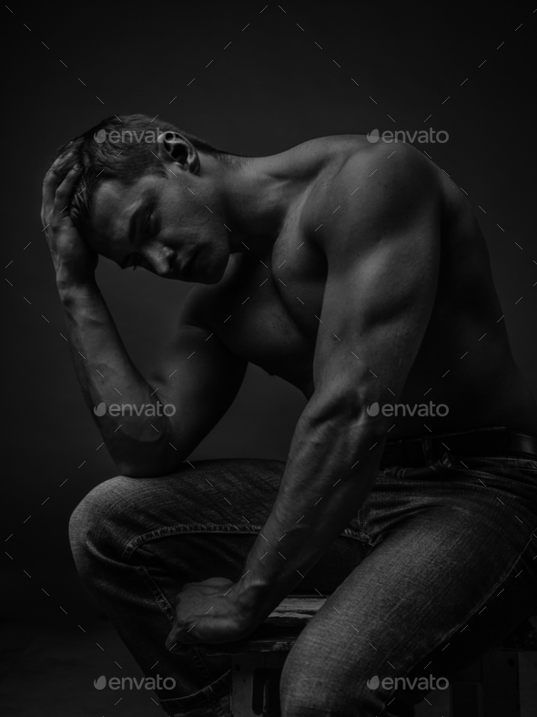 Portrait of a young caucasian male athlete - Stock Photo - Images