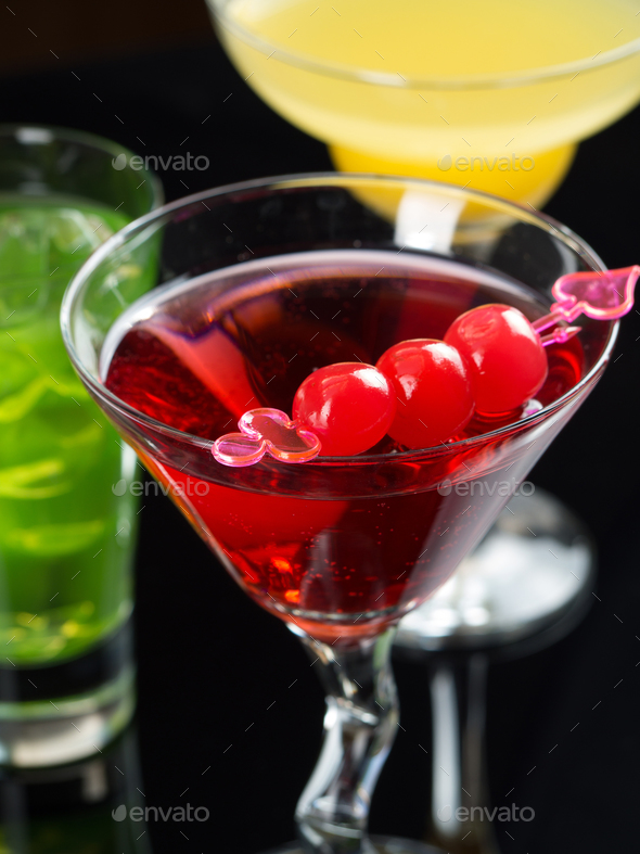 Various cocktails on black background - Stock Photo - Images