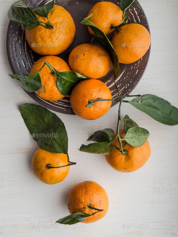 Fresh whole tangerines - Stock Photo - Images