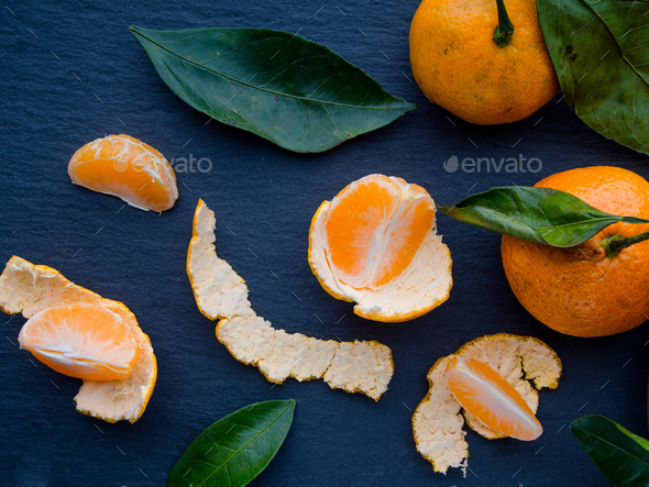 Tangerines with leaves - Stock Photo - Images
