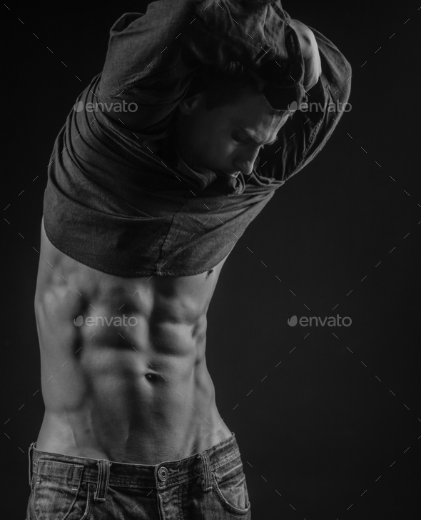 Perfectly shaped abs - Stock Photo - Images