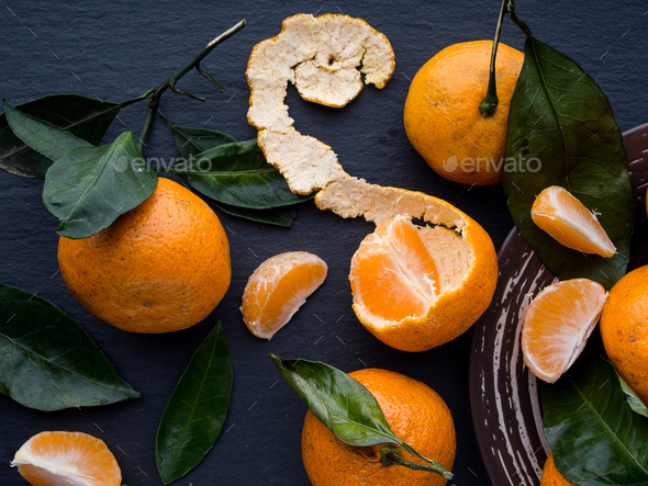 Fresh tangerines with leaves - Stock Photo - Images