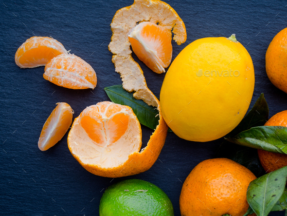 Tangerines, lemons and limes - Stock Photo - Images