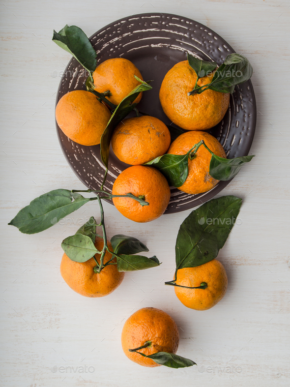 Fresh whole tangerines - Stock Photo - Images