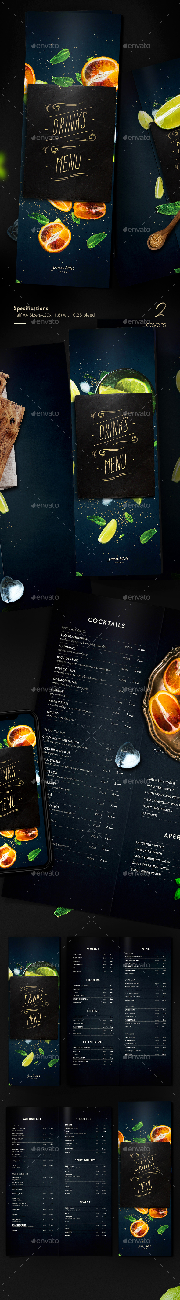 Drinks Menu - Food Menus Print Templates