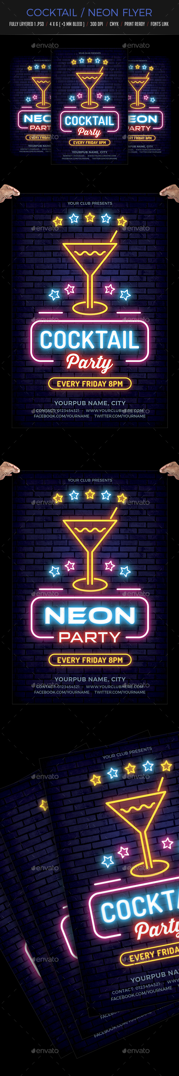 Neon / Cocktail Party Flyer - Clubs & Parties Events