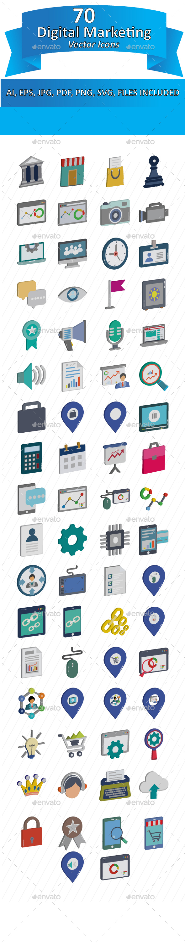 Digital Marketing Isometric Color Illustration Vector Pack - Icons