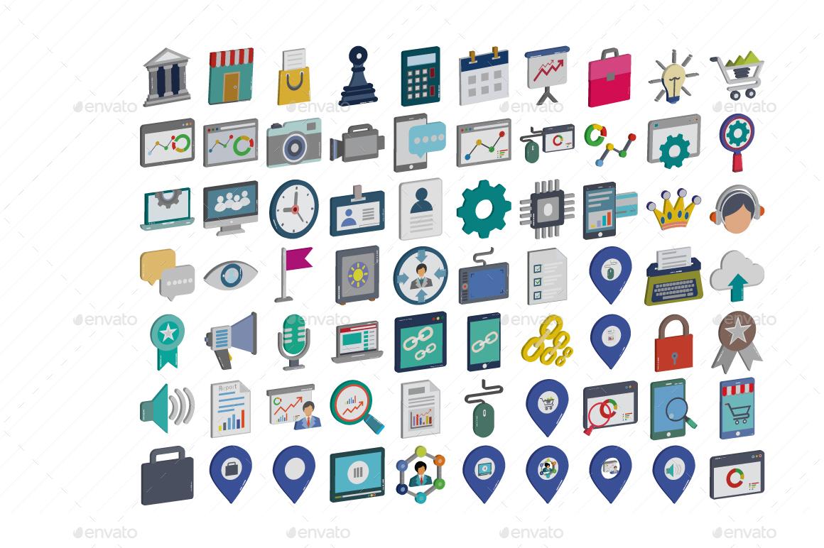 Digital Marketing Isometric Color Illustration Vector Pack
