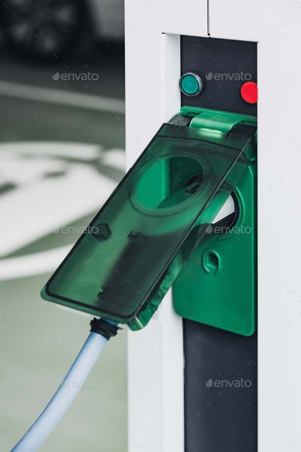 Electric vehicle charging - Stock Photo - Images