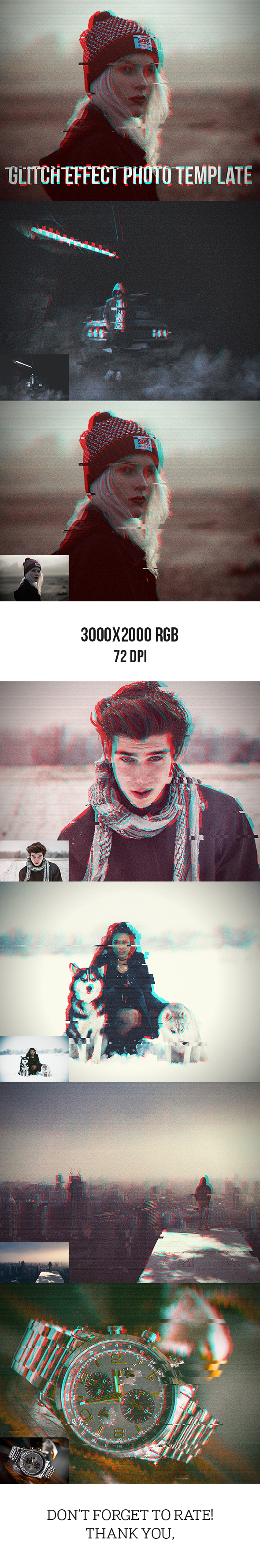 Glitch Effect Photo Template - Photo Effects Actions