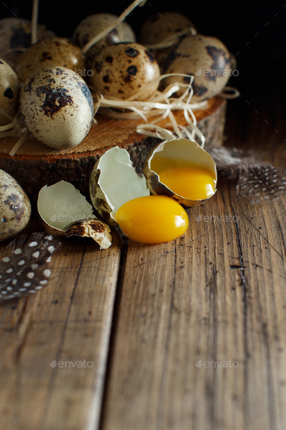 Quail eggs on wood - Stock Photo - Images