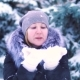 Girl Blowing Snow From Her Hands in the Winter Park,  Shooting, Winter Landscape - VideoHive Item for Sale