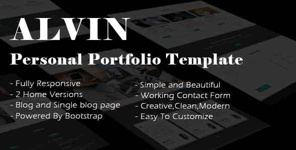 Alvin - Personal Portfolio Template - Portfolio Creative