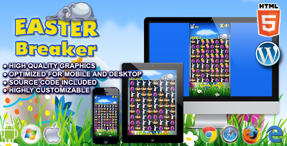 Easter Breaker - HTML5 Match 3 Game - CodeCanyon Item for Sale
