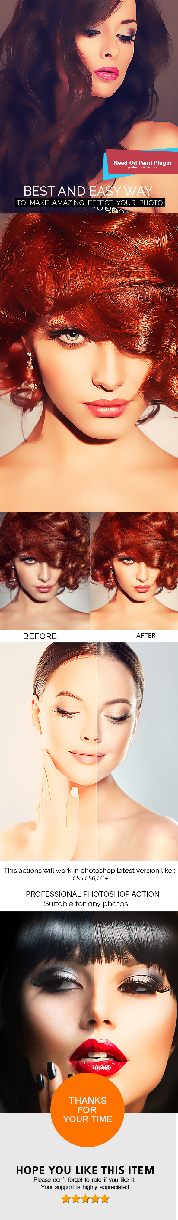 Oil Paint Effect - Photoshop Action - Photo Effects Actions