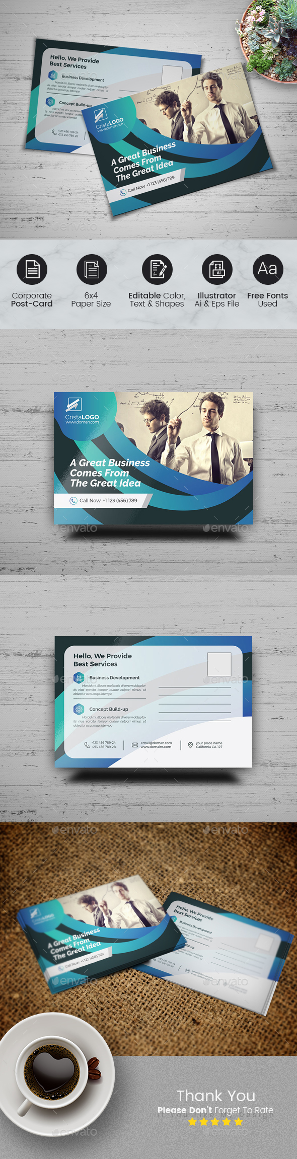 Postcard Template - Cards & Invites Print Templates