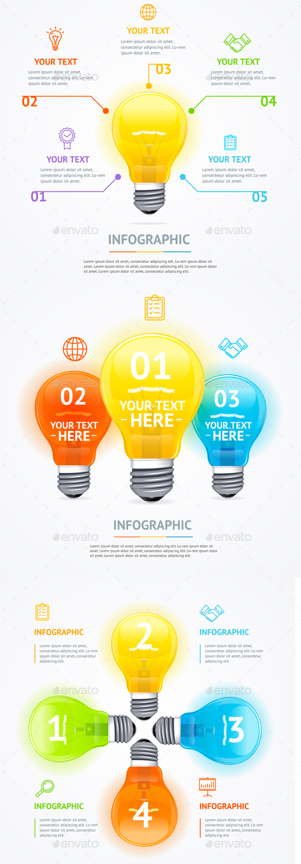 Business Infographic Electric Light Bulb Banner Card - Miscellaneous Vectors