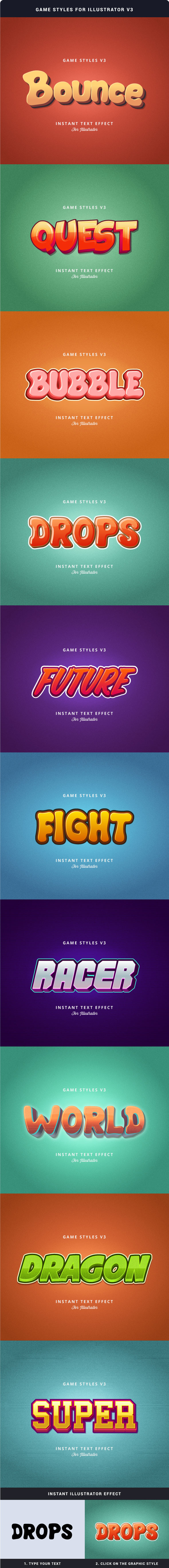 Game Styles for Illustrator V3 - Styles Illustrator