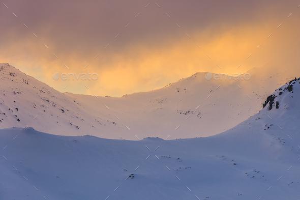 winter landscape in Retezat Mountains, Romania - Stock Photo - Images