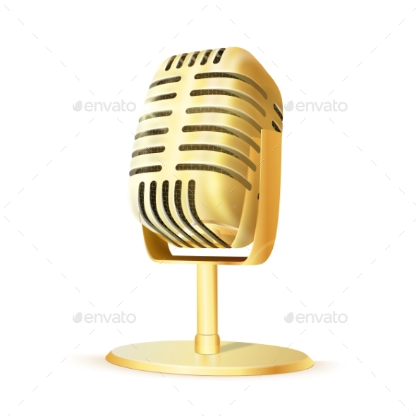 Vintage Golden Studio Microphone - Man-made Objects Objects